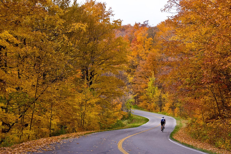 blue ridge parkway cycling in fall