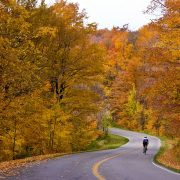 cycling in fall in Pisgah National Forest