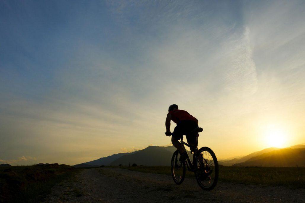 biking on the trails